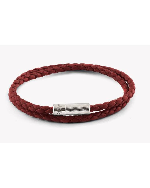 Tateossian | Red Double Wrap Pop Rigato Leather Bracelet With Silver Clasp for Men | Lyst