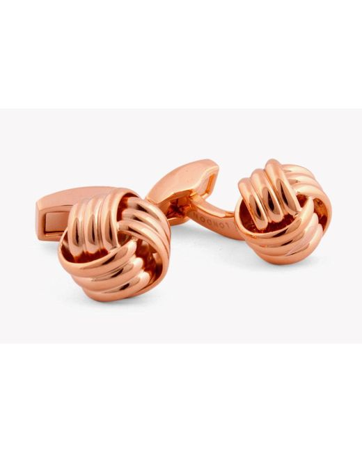 Tateossian | Multicolor Ribbed Knot Cufflinks In Rose Gold Colour for Men | Lyst