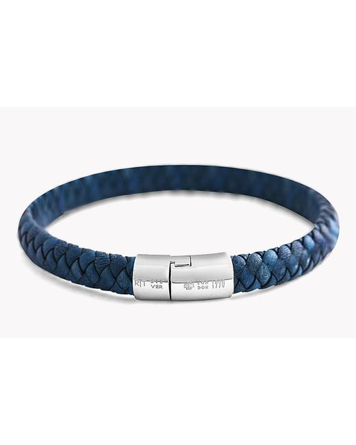 Tateossian - Blue Classic Cobra Leather Bracelet - Lyst