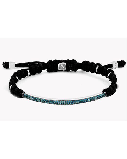 Tateossian - Black Macramé Windsor Silver Bracelet With Blue Diamonds (1.196ct) - Lyst
