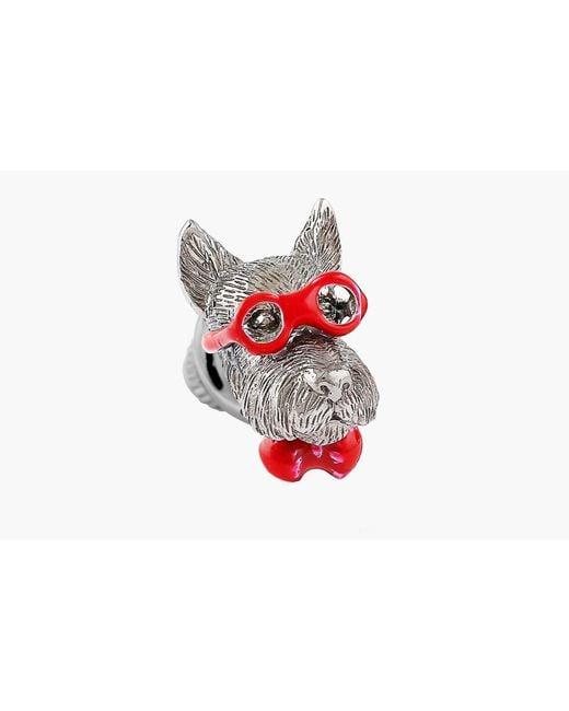 Tateossian - Red Scottish Terrier Silver Pin - Lyst
