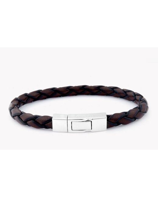 Tateossian - Single Wrap Scoubidou Brown Leather Bracelet With Silver Clasp for Men - Lyst