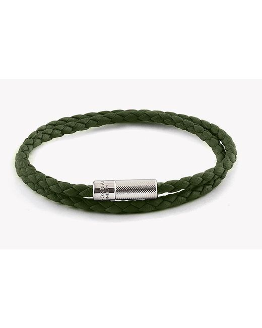 Tateossian - Green Double Wrap Pop Rigato Leather Bracelet With Silver Clasp - Lyst