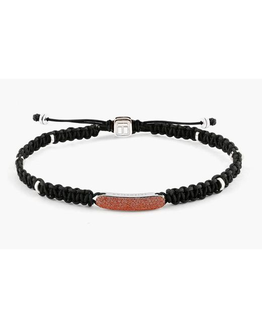 Tateossian - Black Macrame Diamond Baton Silver Bracelet for Men - Lyst
