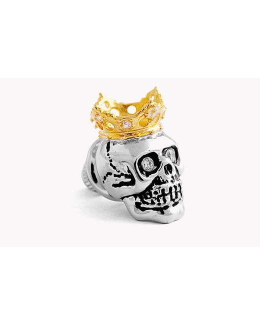 Tateossian - Multicolor King Skull Pin In Silver With 18k Gold Plating - Lyst
