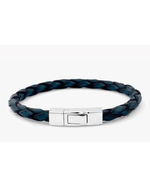 Tateossian - Single Wrap Scoubidou Blue Leather Bracelet With Silver Clasp for Men - Lyst