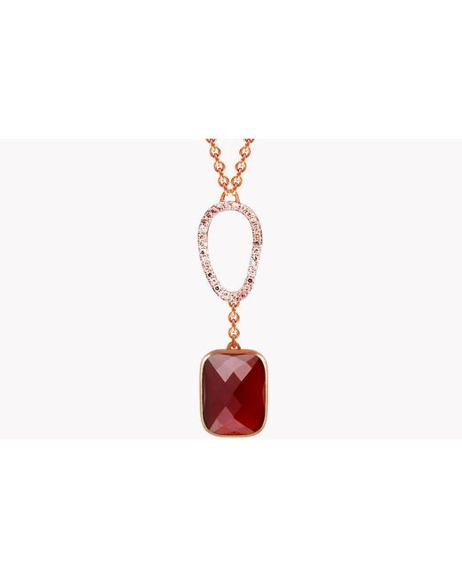 Tateossian - Red 14k Rose Gold Chelsea Necklace With Garnet & White Diamonds for Men - Lyst