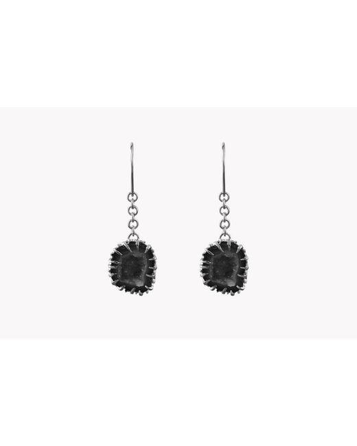 Tateossian - Metallic Geode Long Drop Silver Earrings In Grey - Lyst