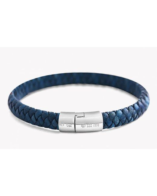 Tateossian | Classic Cobra Bracelet In Blue Leather With Silver Clasp for Men | Lyst