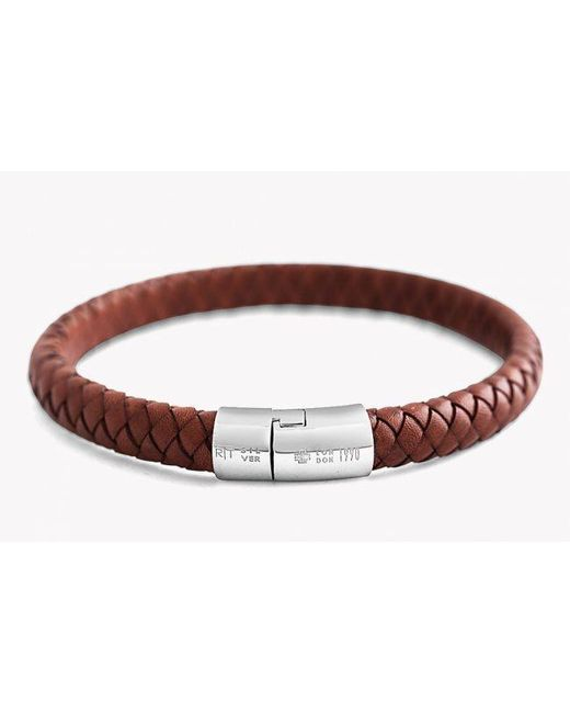 Tateossian | Brown Cobra Leather Bracelet for Men | Lyst