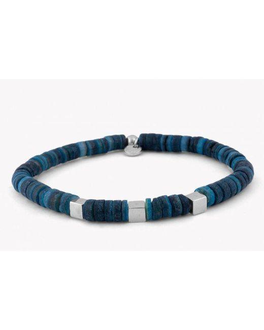 Tateossian | Seychelles Beaded Bracelet In Blue Shells With Silver Cubes for Men | Lyst