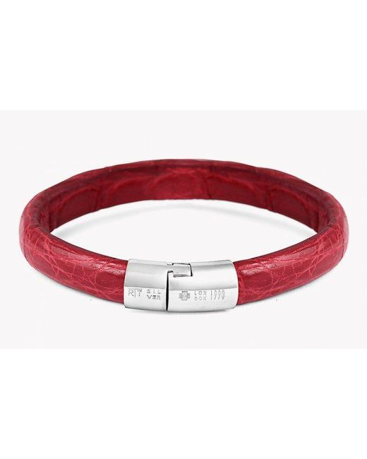 Tateossian | Caiman Bracelet In Red Leather With Silver Clasp for Men | Lyst