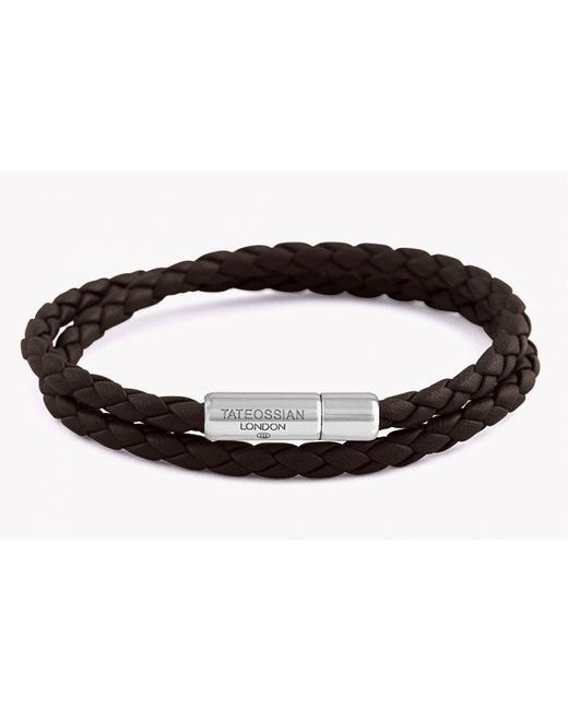 Tateossian | Double Wrap Slim Pop Bracelet In Dark Brown Leather With Silver Clasp for Men | Lyst