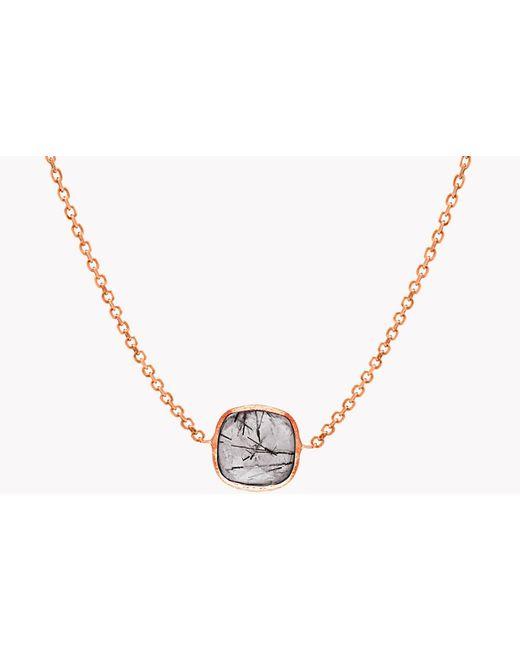 Tateossian - Metallic 14k Rose Gold Single Stone Belgravia Necklace With Black Rutilated Quartz - Lyst