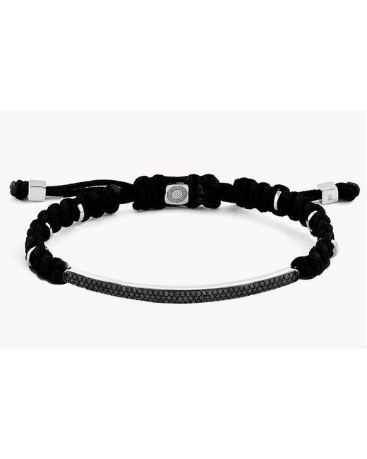 Tateossian - Macramé Windsor Silver Bracelet With Black Diamonds (1.29ct) - Lyst