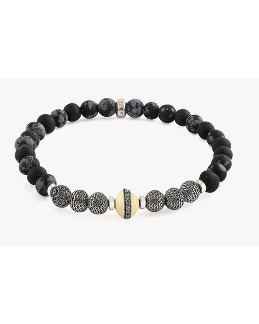 Tateossian   Black Stonehenge Silver Diamond Bracelet for Men   Lyst