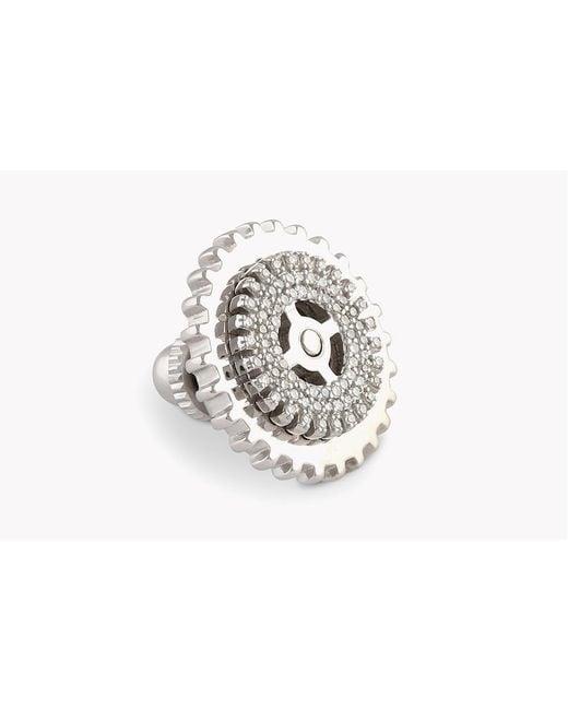 Tateossian - Metallic Gear Pavé Silver Pin In White Diamonds (0.245cts) - Lyst