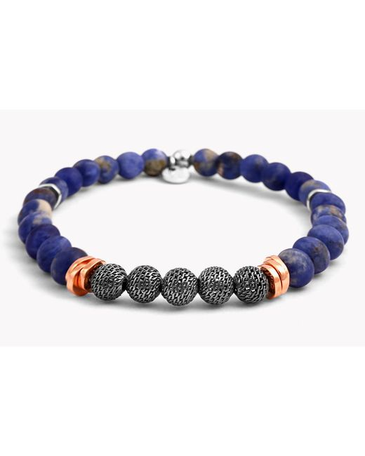Tateossian - Blue Stonehenge Silver Bracelet - Small Beads for Men - Lyst