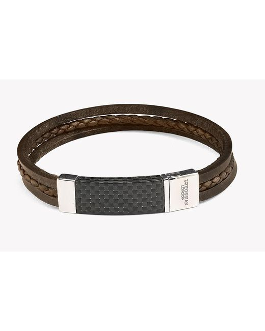 Tateossian - Brown Carbon Slide Silver Bracelet for Men - Lyst