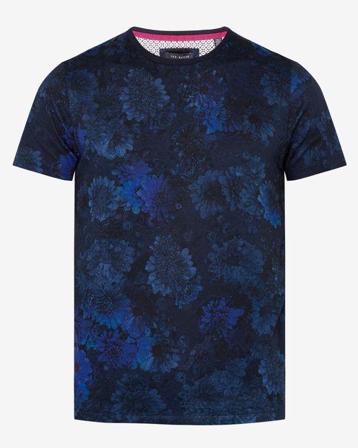 Ted baker digital floral print cotton t shirt in black for for Ted baker floral print shirt