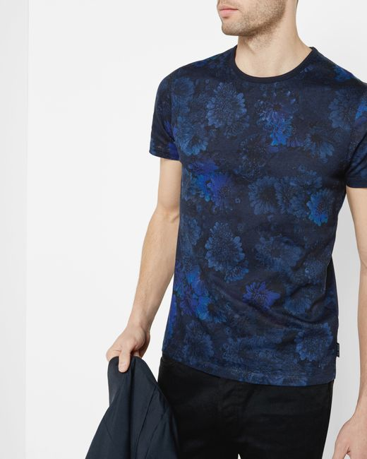 Ted Baker Digital Floral Print Cotton T Shirt In Black For