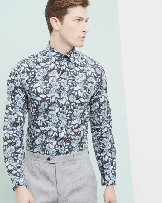 Ted baker floral paisley cotton shirt in blue for men lyst for Ted baker floral shirt