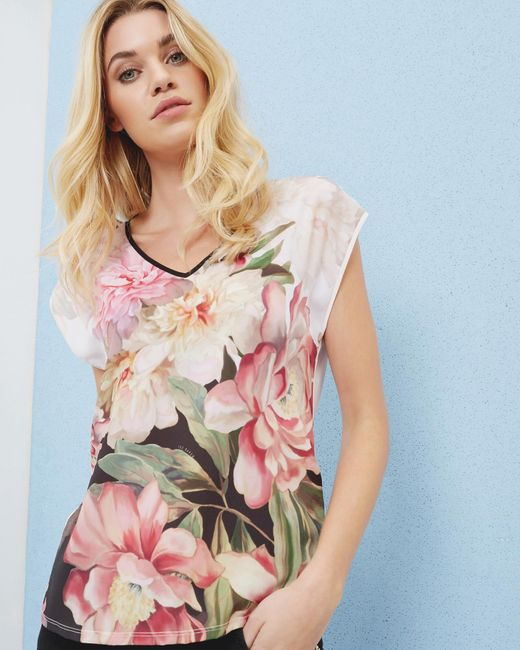 Ted Baker | Multicolor Painted Posie Woven T-shirt | Lyst