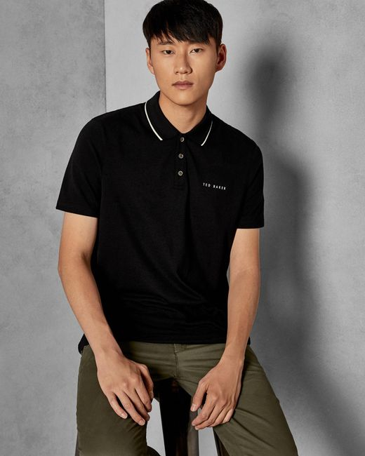 449985180e2f81 Ted Baker Pique Polo Shirt in Black for Men - Save 19% - Lyst
