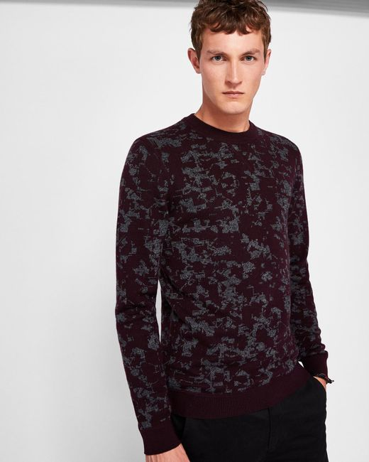 Ted Baker - Red Gelato Interest Jacquard Jumper for Men - Lyst