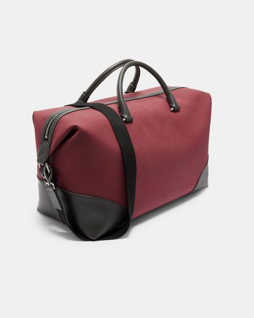 6694cba79d69 Ted Baker - Red Faux Nubuck Holdall for Men - Lyst ...