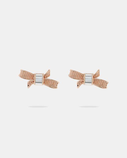 Ted Baker - Pink Mini Ribbon Bow Earrings - Lyst