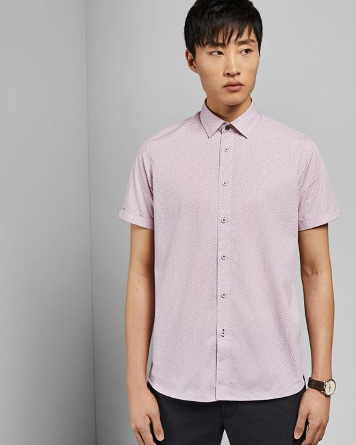 9943de386b78 ... Ted Baker - Pink Rectangle Geo Print Cotton Shirt for Men - Lyst ...