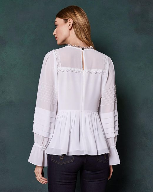 8036ddfe829d8 ... Ted Baker - White Pintuck Lace Detail Top - Lyst