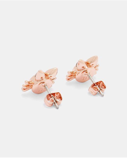 Ted Baker - Pink Crystal Kitten Earrings - Lyst