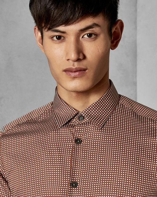Ted Baker - Orange Cotton Geo Print Shirt for Men - Lyst