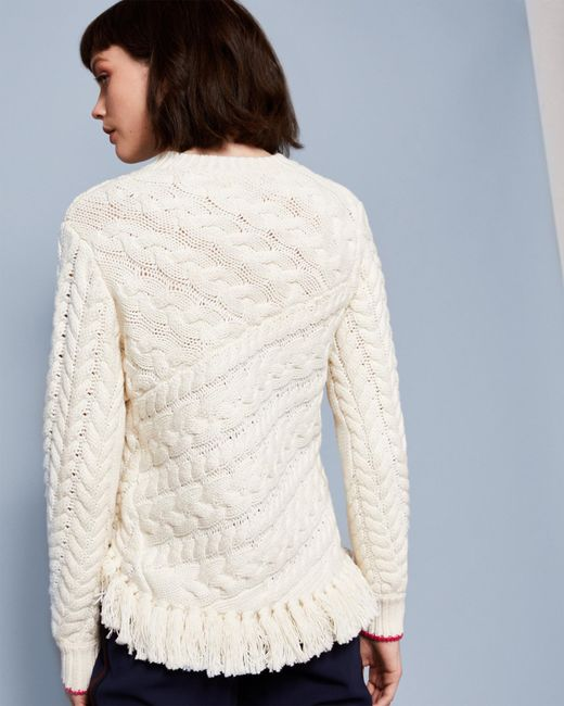 26d9a0eebcbb32 ... Ted Baker - White Fringed Cable Knit Jumper - Lyst ...