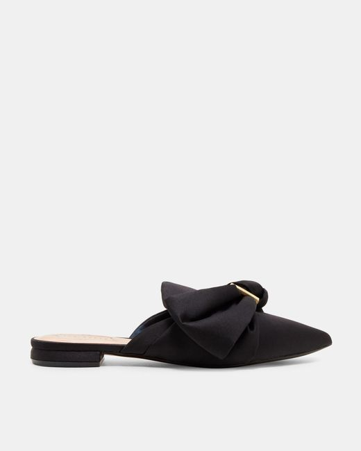 Ted Baker | Black Satin Bow Loafers | Lyst
