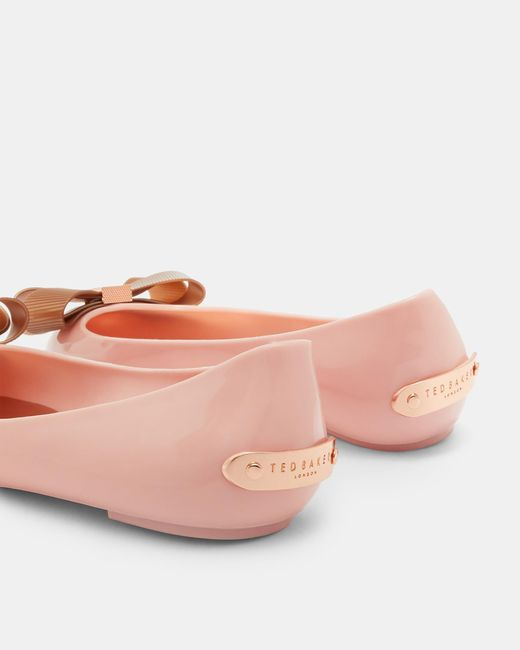 37802d9a7 ... Ted Baker - Pink Bow Detail Jelly Pumps - Lyst ...