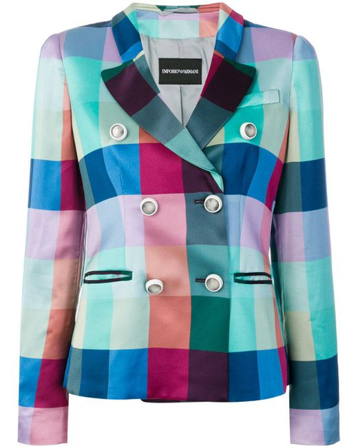 Emporio Armani - Blue Silk Double Breasted Jacket - Lyst