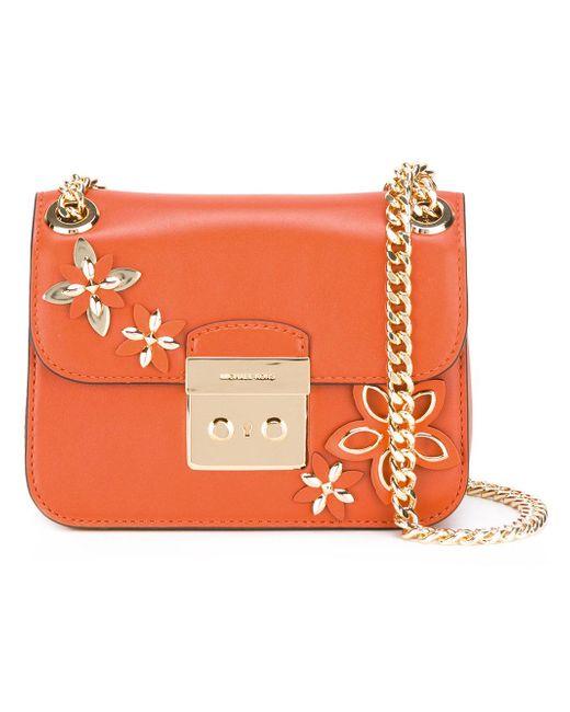 Michael Michael Kors Floral Motif Shoulder Bag In Orange - Save 5% | Lyst