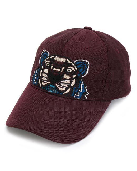 KENZO | Red Icons Tiger Print Cotton Cap for Men | Lyst