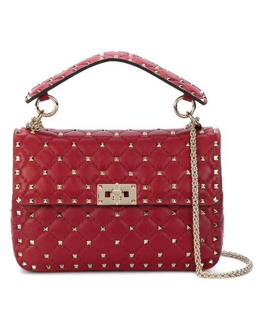 264fb7b56579 Lyst - Valentino Garavani Rockstud Spike Crossbody Bag in Red - Save 21%