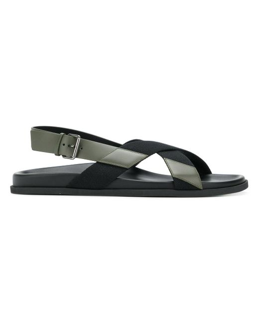 Valentino - Black Leather Sandal for Men - Lyst