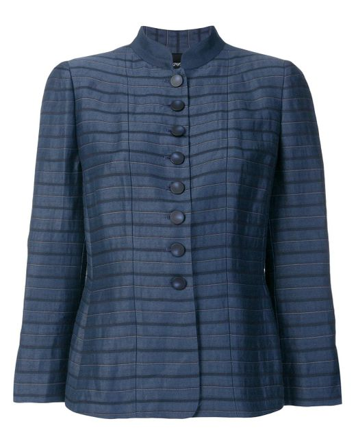 Emporio Armani - Blue Linen And Silk Jacket - Lyst