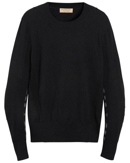 Burberry - Black Merino Wool Sweater With Tartan Details for Men - Lyst