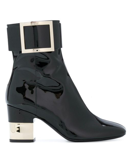 Roger Vivier - Black Oversized Buckle Ankle Boots - Lyst