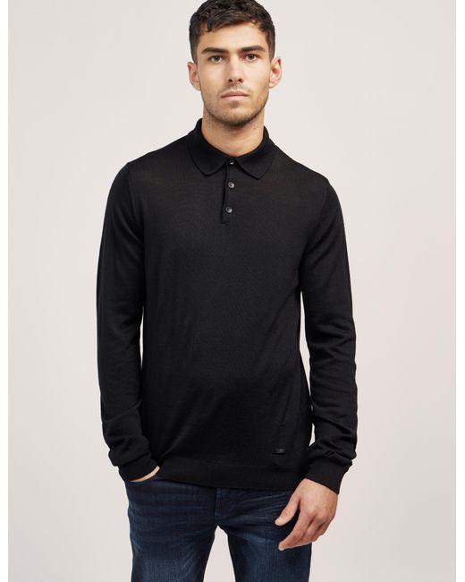 Armani wool long sleeve polo shirt in black for men lyst for Long sleeve wool polo shirts