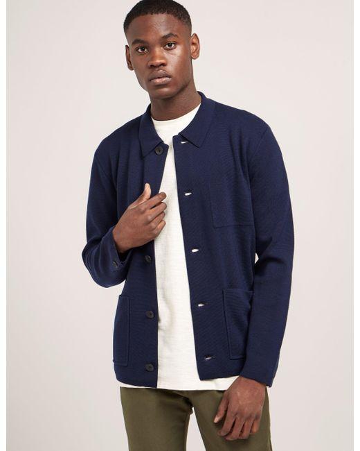 Rag & Bone | Blue Light Knit Button Down Jacket for Men | Lyst