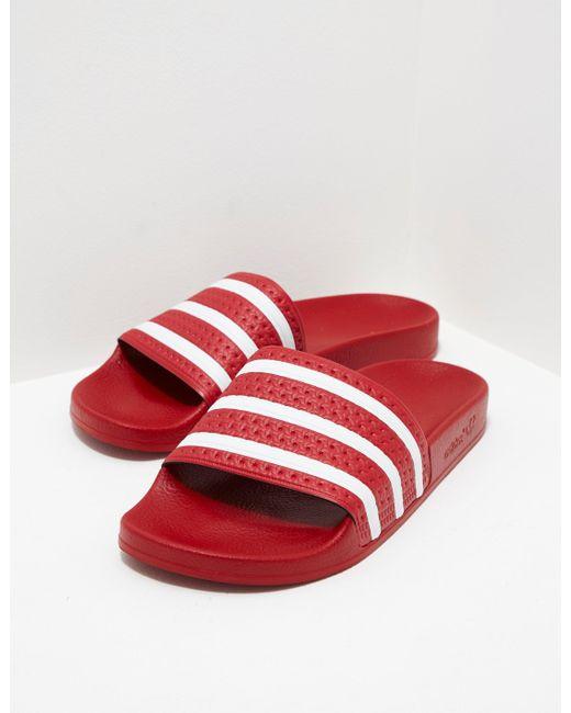Adidas Originals - Mens Adilette Slides Red for Men - Lyst ...