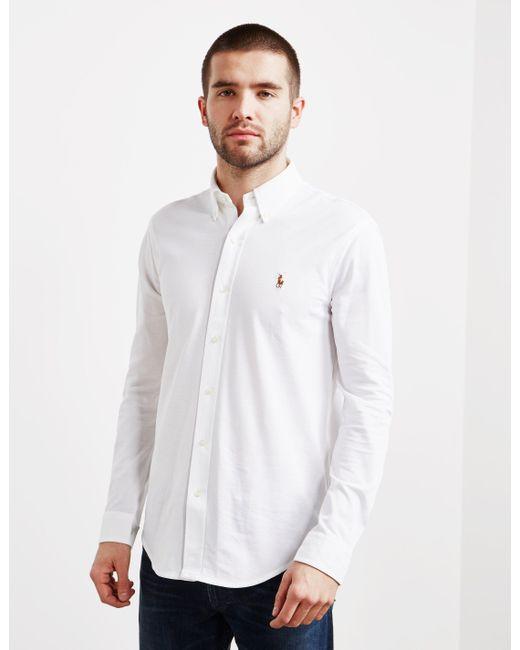 0b126368081 ... discount code for polo ralph lauren mens pique long sleeve oxford shirt  white for men lyst